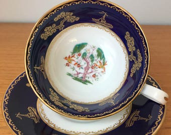 Chelson China Vintage Hand Painted Tea Cup and Saucer, Dark Cobalt Blue Border Teacup and Saucer with Gold Boats Bonsai Trees Birds,  1920s