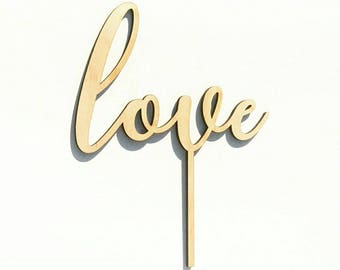 Cursive Love Timber Wooden Laser Cut Cake Topper for Wedding Cakes and Engagements.