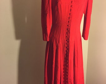 Vintage Red Dress With Embroidery By Marie St. Claire