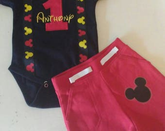 Mickey Mouse 1st Birthday Outfit - Black Shirt