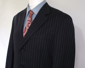 "Vintage mens suit by Scott Taylor of London Wool Navy Pinstripe Suit 40"" chest Waist 34"" leg 32"""