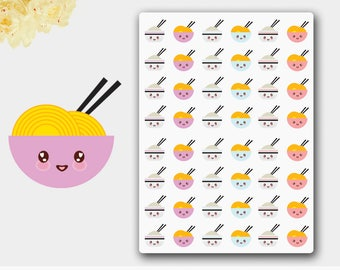 Kawaii Asian Food Stickers, Noodle Planner Sticker, Rice Stickers