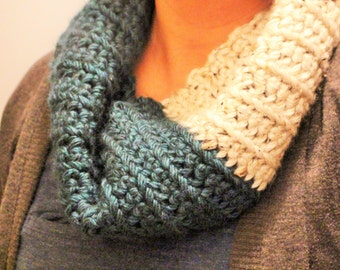 Teal and Cream Infinity Scarf