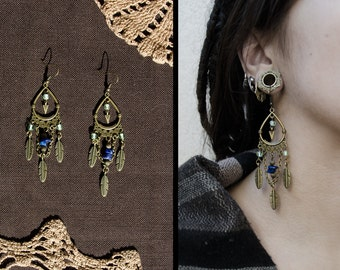 Kwanita Tribal antic brass gypsy stone lapis lazuli earrings gold turquoise with glass beads
