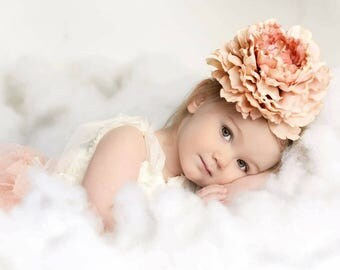 Toddler headband, oversized flower headband, peach flower headband, peach flower prop, giant peach flower.