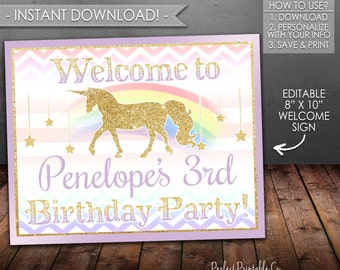 Unicorn Welcome Sign, Unicorn Birthday Sign, Unicorn Name and Age Sign, Purple and Gold, Printable, Instant Download, Editable PDF File #486