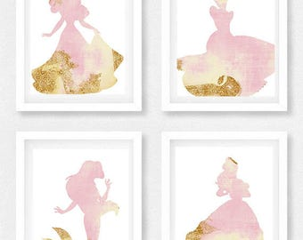 Disney princess nursery, Set of 4, Princess pictures, Disney theme, Baby shower gift, Gift for daughter, little girls room, Cinderella art