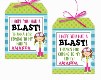 Personalized Girl Scientist Party Printable Hang Tags, Science Party Custom Thank You Tags, Scientist Party, 3x4 Gift Tags