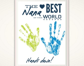 Gifts for Nana, Nana Gift from Grandkids, Personalized Gift From Kids, Handprint Poster, INSTANT Download PDF, Personalized Handprint Art