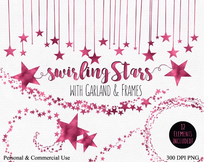 PINK STAR CLIPART Commercial Use Clip Art Hot Pink Night Sky Stars Digital Clip Art Star Banner Garland Bunting Frame Baby Shower Clipart