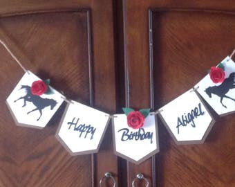 Happy Birthday Banner, It;s a Girl Banner, Derby Banner, Ready Set Go, Run with the Roses banner, Red rose banner. Kentucky Derby tags.