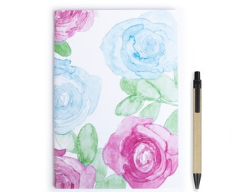 Notebook Personalise  - Watercolor, Roses, Stationery, Recycled Paper, Lined, Blank Paper, Notebook, Flowers, Journal, A5 Notebook