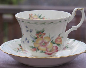 Royal Albert Teacup and Saucer, Constance design, Bone China Teacup and Saucer with Floral Design,  1980's Bone China, Made in England
