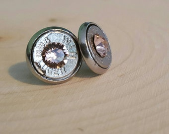 9mm light pink stud earrings, bullet slice earrings, stainless steel