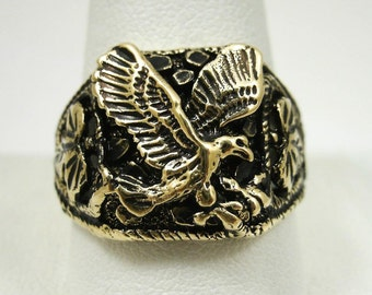 NEW Solid 14K Yellow Gold Blackened Eagle Nugget Ring Size 10 Size 11, 7.3 grams
