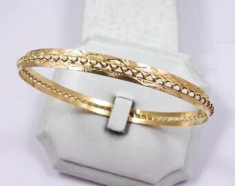 "Solid 18K Yellow Gold South American Handmade Bangle Bracelet, 8.5 grams 8"", 6mm"