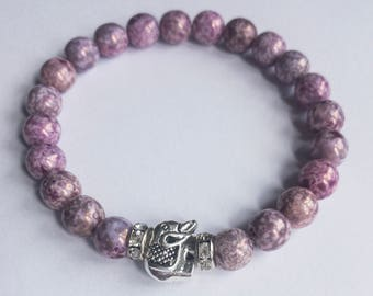 Purple luster beaded elephant bracelet