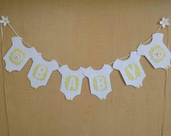 Baby onesie bunting. Yellow Gender reveal