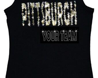 Pittsburgh Bling Tank Top sequins Shirt no rhinestones