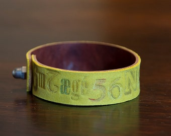 handmade real leather armband, yellow and brown leather with letterpress effect, gift for him, gift for her, dada lettering