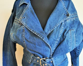 Spiked denim jacket | Etsy