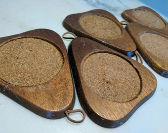 SALE - 5 Vintage Hanging Wooden Cork Coasters, Mid Century Hanging Coaster Set, Wood Cork Coaster Set,  Mad Men Barware, Triangle Coasters