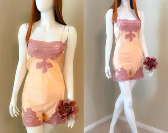 Vintage 30's Silk Teddy, Peach Silk Bias Cut Romper Slip, 1930's Step In Slip, Vintage Boudoir Lingerie, 30's Lace Teddy - size 34