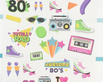 Awesome 80's Planner Stickers (NF422) High Gloss, Semi-Gloss, Matte Planner Stickers