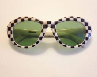 Mod Sunglasses, Very Rare, Checkered Pattern, Green Lens