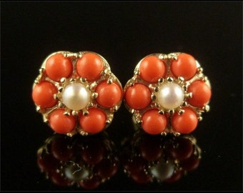Coral and Pearl Cluster Earrings 9ct Gold