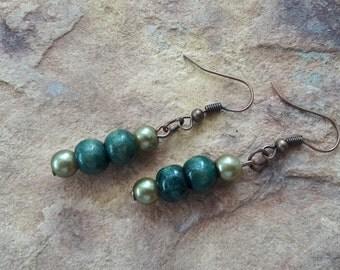Small earrings wood earrings simple earrings green earrings light earrings dangle drop earrings beaded handmade beach drops everyday  drops