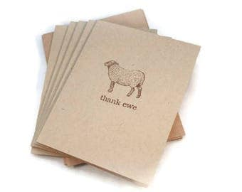 Thank You Cards, Thank Ewe Cards, Thank You Card Set, Thank You Notes, Sheep Cards, Note Card Set, Primitive Cards, Hand Stamped Cards