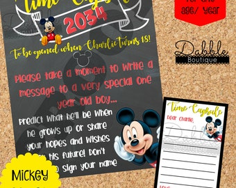Mickey Mouse Birthday Time Capsule / 1st birthday chalkboard / 2nd birthday chalkboard/ Mickey Birthday