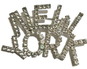 Rhinestone Brooch, New York Pin, Silver Tone,  Mid Century Jewelry , 1950s-1960s