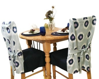Blue Slipcovers for Dining Chairs, Navy Chair Slipcover,  Dining Room Chair Cover, Kitchen Home Décor