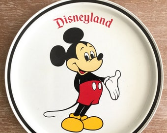 Vintage Disneyland Mickey Mouse Round Metal Tray