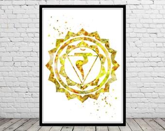 Solar plexus chakra, manipura chakra, seven chakras, meditation chakra Print, chakra wall art, spiritual, yoga, reiki, zen, love (2817b)