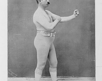 "John L. Sullivan. ""The champion of all champions--'Hoping to deserve your appreciation, I remain yours truly"" Reproduction Photograph Print"