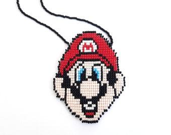 Super mario necklace super mario brothers necklace nintendo necklace unique super mario bros jewelry mario nintendo gifts