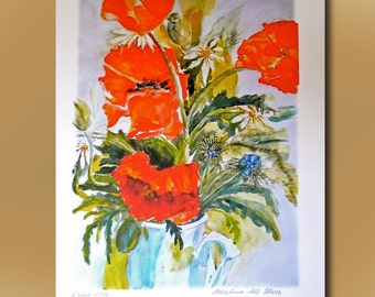 Poppies, Art Print, contemporary limited edition print, original watercolor,large size, Gift for Her and for Him, Friendship Gift