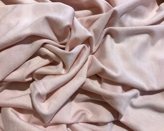 250 Grams Bamboo Spandex Fabric Jersey Knit by the Yard - Cream Pink 4 Way Stretch