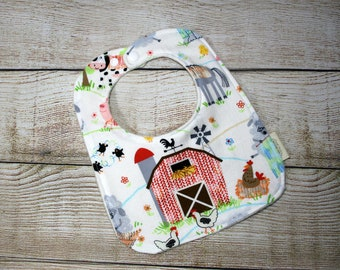 Baby Bib, Infant/Toddler Bib, Drool Bib, Knitting Sheep Farm Animals