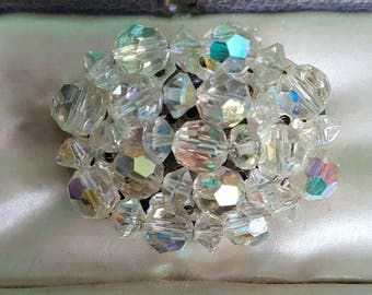 Vintage aurora borellis glass beads brooch pin badge