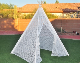 Pure White All Lace Kids Teepee, Kids Play Tent, Childrens Play House, Tipi,Kids Room Decor