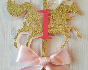 Carousel Horse Centerpiece-Carousel Theme Birthday-Carousel Birthday Centerpiece-Carousel-Glitter Girl Centerpiece-Glitter Carousel Horse