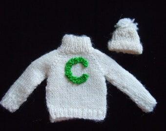 Miniature Cheerleader Sweater ~ Varsity Letter Sweater ~ Hat ~ Miniature Clothing ~ Miniature ~ Fairy garden ~ Dollhouse ~ Accessories