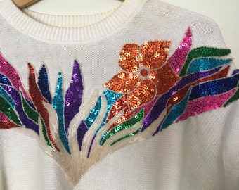 Vintage sequin/bead embellished flower sweater