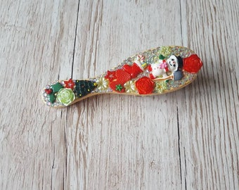 Wooden christmas hair brush, Christmas present for her, secret santa gift, Christmas in July, stocking filler ideas