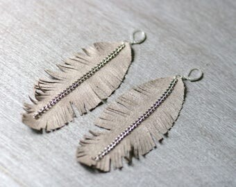 "Suede Leather Feather Earrings / Bohemian Jewelry / 5"" hanging"