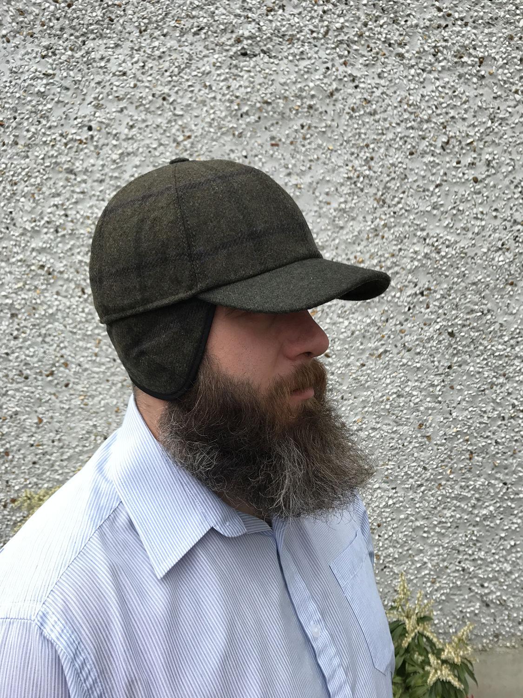 Baseball Tweed cap-FREE SHIPPING-dark moss with overcheck -Irish tweed - 100 48b96cdf549